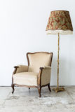 Brown Chair with lamp Stock Photo