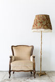 brown Chair with lamp Stock Photography