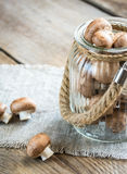 Brown champignon mushrooms on the wooden background. Close up Royalty Free Stock Photo