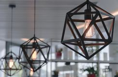 Brown chandelier in a cafe stock photo