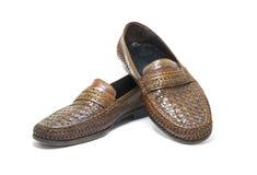 Brown, chaussures en cuir faites main d'isolement sur le fond blanc photographie stock