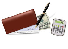 Brown checkbook with check, pen and dollars Royalty Free Stock Images