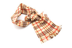 Brown Checked Scarf. Isolated on white background Stock Photos