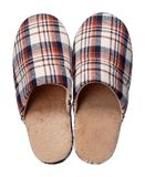 Brown checkered slippers isolated on white background. Close up, high resolution Stock Photography