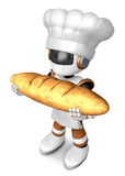 Brown chef robot character holding large baguettes matches. Crea Stock Photography