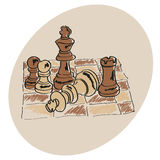 Brown Chess on a chessboard. Pattern Doodle royalty free illustration