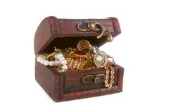 Brown chest with treasures Royalty Free Stock Photo