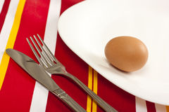 Brown chicken egg on a plate Royalty Free Stock Photography