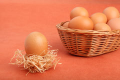 Brown chicken egg in strawnest and eggs in the basket Stock Photography
