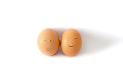 Brown chicken egg on white. Royalty Free Stock Photo