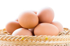 Brown chicken eggs in basket Royalty Free Stock Photography