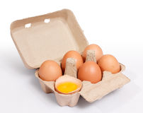 Brown chicken eggs in cardboard box container Stock Photo
