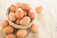 Brown chicken eggs. Brown chicken eggs on wooden table Royalty Free Stock Photo