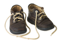 Brown child shoe Royalty Free Stock Images