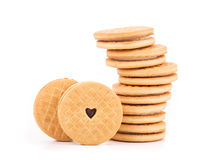 Brown chocolate biscuits. Royalty Free Stock Images