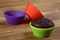 Brown chocolate cupcake Royalty Free Stock Images