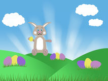 Brown chocolate easter bunny with eggs blue sky and green grass spring illustration Stock Images