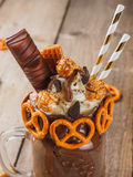 Brown chocolate freakshake stock photo