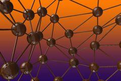 Brown chocolate Molecular geometric chaos abstract structure. Science technology network connection hi-tech background 3d renderin. G illustration Stock Image