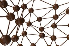 Brown chocolate Molecular geometric chaos abstract structure. Science technology network connection hi-tech background 3d renderin. G illustration isolated on Stock Photo