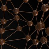 Brown chocolate Molecular geometric chaos abstract structure. Science technology network connection hi-tech background 3d renderin. G illustration isolated on Royalty Free Stock Images