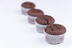 Brown chocolate muffins arranged over white background Royalty Free Stock Photos