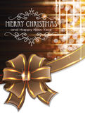 Brown Christmas background with bow. Christmas and New Year background with brown bow and ribbon Royalty Free Stock Image