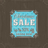 Brown christmas background and  sale offer label Stock Images
