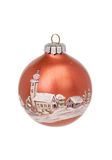 Brown christmas ball. Brown christmas glass ball with handpainted image of church, isolated against white background - braune Weihnachtskugel mit Kirche Royalty Free Stock Images