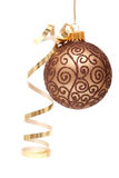 Brown Christmas bauble. Christmas bauble with ribbon on white background Stock Photo