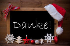 Brown Christmas Blackboard Santa Hat Danke Means Thank You Stock Photo