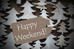 Brown Christmas Label With Happy Weekend Stock Images
