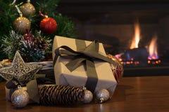 Brown Christmas Present Royalty Free Stock Photography