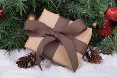 Brown Christmas Present Stock Photography