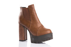 Brown chunky heel boot Stock Image