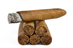 Brown cigar burned Stock Photo
