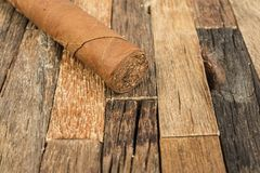 Brown cigar on wooden background. Royalty Free Stock Photos