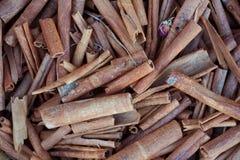 Cinnamon crust curls whorl background. Brown Cinnamon crust curls whorl background. Smell Royalty Free Stock Photo