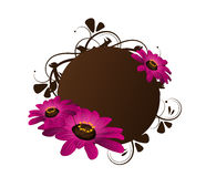 Brown circle with floral ornaments and flowers Royalty Free Stock Photos