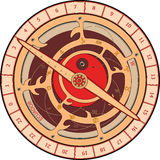 Astrolabe cartoon. Brown circles hours with arrows and figures Stock Images
