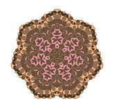 Brown circular pattern background. Ethnicity vector round pattern in muted colors. Folk ornament Stock Photo