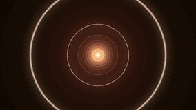Brown circular signals moving one by one on dark background, seamless loop. Media. Narrow glowing rings with a shining