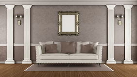 Brown classic living room Royalty Free Stock Photography