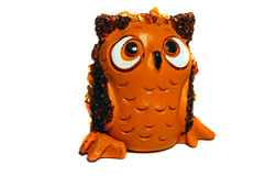 Brown clay figurine owl Royalty Free Stock Images