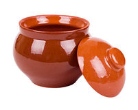 The brown clay pot Stock Photo