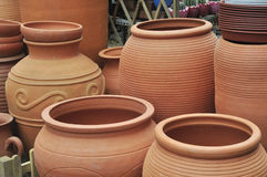 Brown clay pot Stock Photos