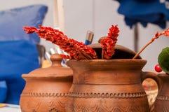 Brown clay pot Stock Photos
