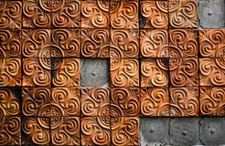 The brown clay tiles wall in the house ,be damaged. Royalty Free Stock Photos