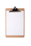 Brown clipboard with blank white paper on isolated background Stock Images