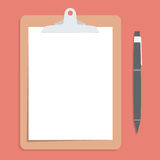 Brown clipboard with blank white paper.  with pen put alongside. Vector illustration Stock Image